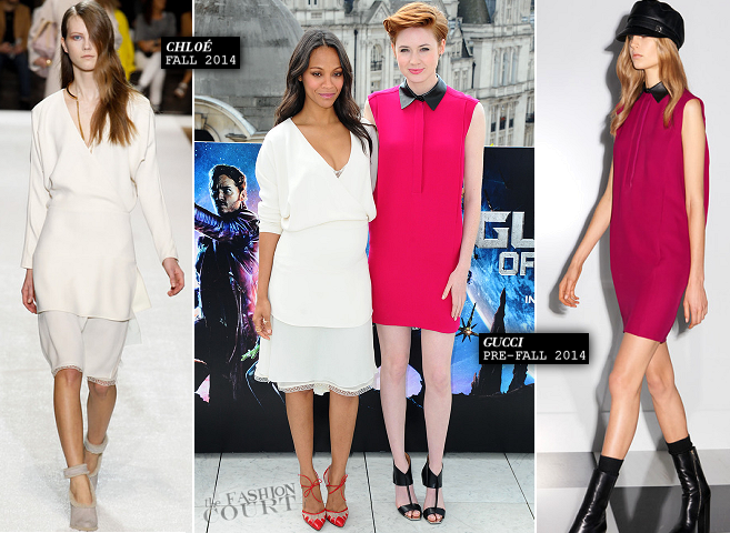 Zoe Saldana in Chloé & Karen Gillan in Gucci | 'Guardians of the Galaxy' London Photocall