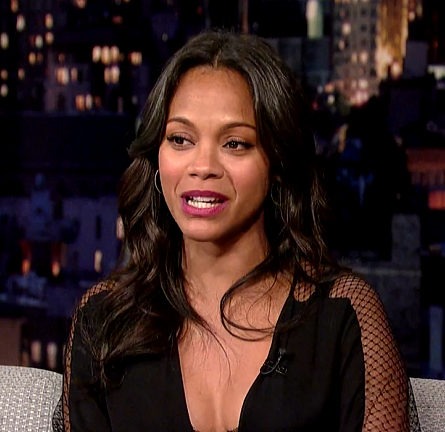 Zoe Saldana in Monique Lhuillier | 'Late Show with David Letterman'