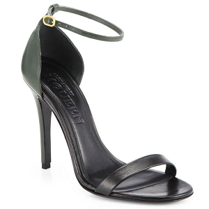 Alexander McQueen Bi-Color Ankle Strap Leather and Suede Sandals