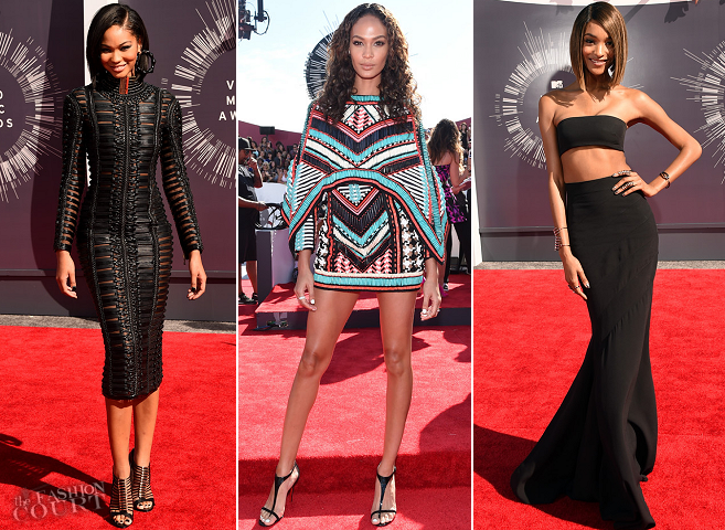 Chanel Iman, Joan Smalls & Jourdan Dunn in Balmain | 2014 MTV Video Music Awards