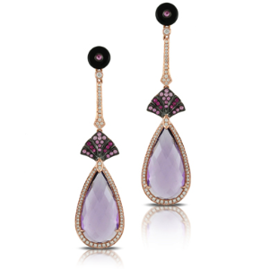 Doves by Doron Paloma Amethyst and Mother of Pearl Earrings