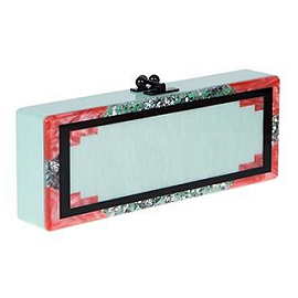 Edie Parker 'Flavia' Mint Clutch with Black, Coral & Silver Confetti Trim