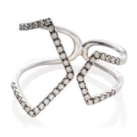 EF Collection Diamond Split Chevron Ring