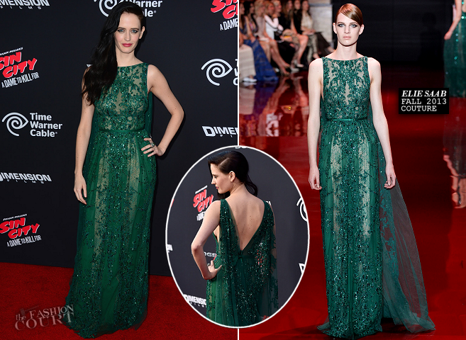 Eva Green in Elie Saab Couture | 'Sin City: A Dame To Kill For' Hollywood Premiere