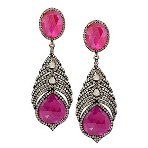 Graziela Gems Ruby Feather Earrings