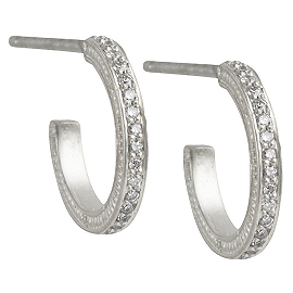 Jamie Wolf White Gold and Black Rhodium Mini Pave Hoop Earring with Diamonds