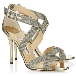 Jimmy Choo 'Lottie' Sandals in Bronze Lamé
