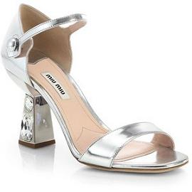 Miu Miu Jeweled Heel Mary Jane Sandals