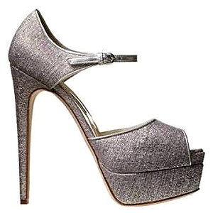 Brian Atwood 'Tribeca' Metallic Fabric Platform Sandals