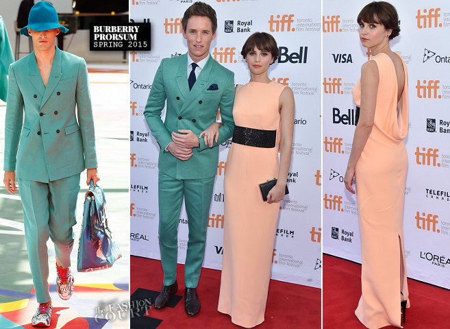 Eddie Redmayne in Burberry Prorsum & Felicity Jones in Balenciaga | 'The Theory Of Everything' Premiere - 2014 Toronto International Film Festival