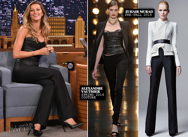 Gisele Bündchen in Alexandre Vauthier Couture & Zuhair Murad | 'The Tonight Show Starring Jimmy Fallon'