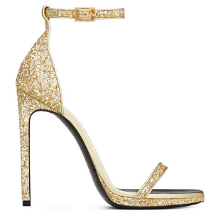 Saint Laurent CLASSIC JANE 110 Ankle Strap Sandals in Gold Glitter Fabric