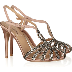 Valentino Crystal-Embellished Suede and Satin Sandals