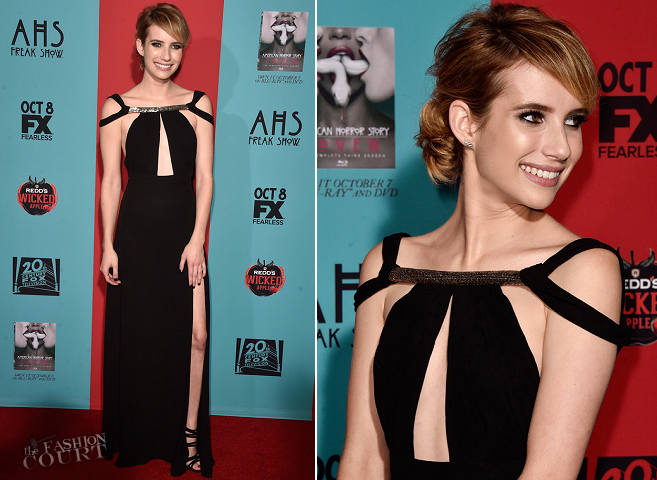 Emma Roberts in Saint Laurent | 'American Horror Story: Freak Show' Premiere