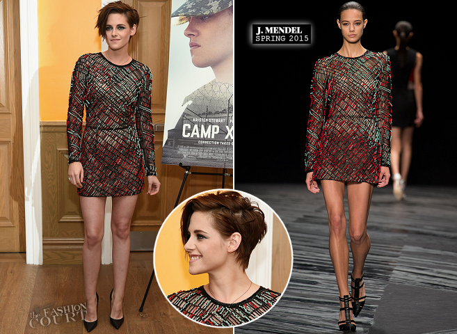 Kristen Stewart in J. Mendel | 'Camp X-Ray' NYC Premiere