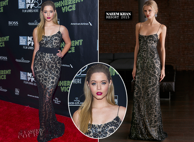 Sasha Pieterse in Naeem Khan | 'Inherent Vice' Premiere - 2014 New York Film Festival