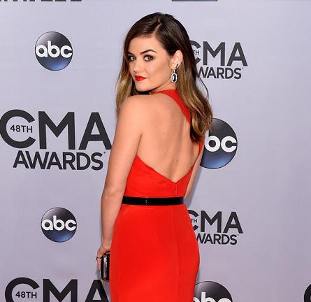 Lucy Hale in Romona Keveza   2014 CMA Awards