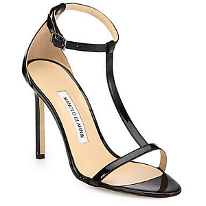 Manolo Blahnik 'Spence' Patent Leather T-Strap Sandals