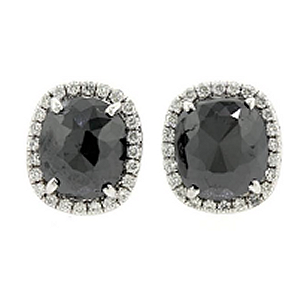 Norman Silverman Diamonds Black Diamond Square Earrings