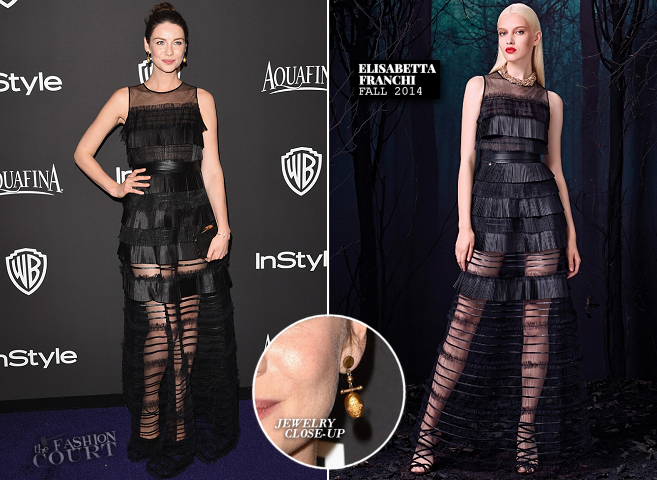 Caitriona Balfe in Elisabetta Franchi | 2015 Warner Bros. / InStyle Golden Globe Awards After Party