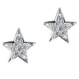 Chanel Comètes 18k White Gold and Diamond Star Earrings