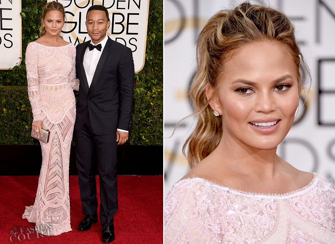 Chrissy Teigen in Zuhair Murad | 2015 Golden Globes