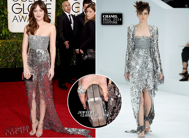 Dakota Johnson in Chanel Couture | 2015 Golden Globes