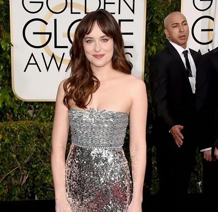 Dakota Johnson in Chanel Couture | 2015 Golden Globes