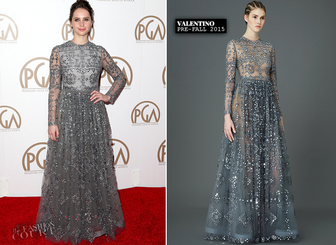 Felicity Jones in Valentino | 2015 PGA Awards