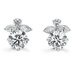 Forevermark by Leo Schachter Flower Earrings with Round Brilliant Forevermark Diamonds set in 18k White Gold