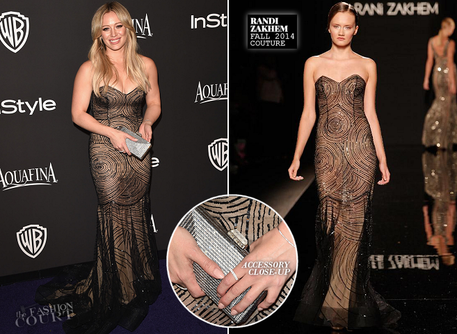 Hilary Duff in Rani Zakhem Couture | 2015 Warner Bros. / InStyle Golden Globe Awards After Party