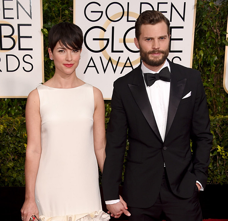 Jamie Dornan in Louis Vuitton & Amelia Warner in Huishan Zhang | 2015 Golden Globes