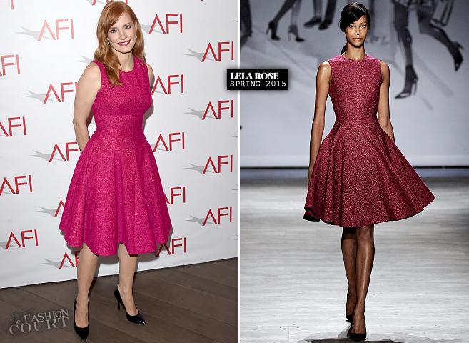 Jessica Chastain in Lela Rose   2015 AFI Awards