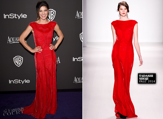 Jessica Szohr in Tadashi Shoji | 2015 Warner Bros. / InStyle Golden Globe Awards After Party
