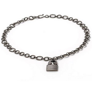 Jillian Dempsey Punk Lock Matte Black Rhodium Necklace