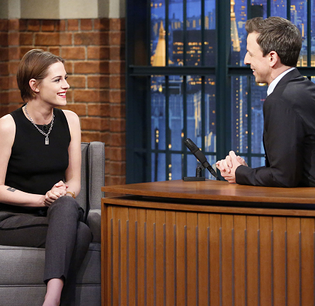 Kristen Stewart in Sandro | 'Late Night with Seth Meyers'