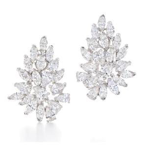KWIAT American Beauty Platinum Diamond Cluster Earrings