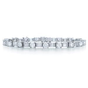 KWIAT Sonata Platinum Round and Baguette Diamond Line Bracelet