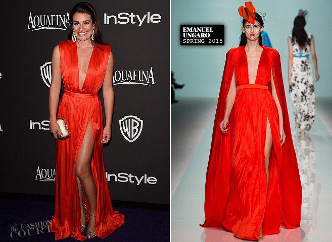 Lea Michele in Emanuel Ungaro | 2015 Warner Bros. / InStyle Golden Globe Awards After Party