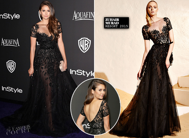 Nina Dobrev in Zuhair Murad | 2015 Warner Bros. / InStyle Golden Globe Awards After Party