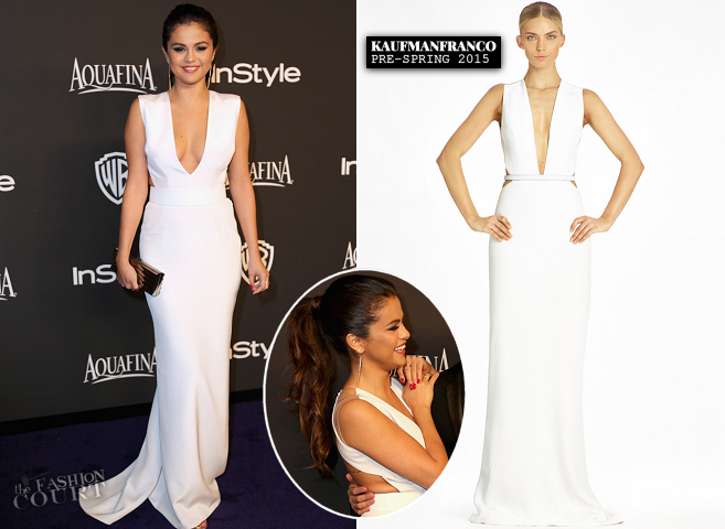 Selena Gomez in KAUFMANFRANCO | 2015 Warner Bros. / InStyle Golden Globe Awards After Party