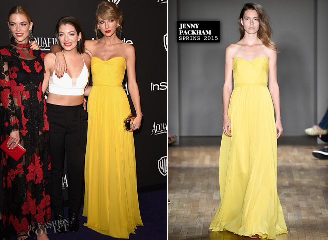 Taylor Swift in Jenny Packham | 2015 Warner Bros. / InStyle Golden Globe Awards After Party