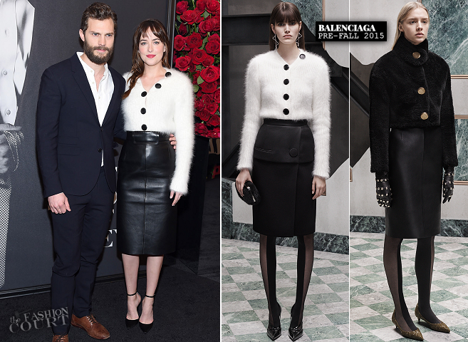 Dakota Johnson in Balenciaga | 'Fifty Shades of Grey' Fan First NYC Screening
