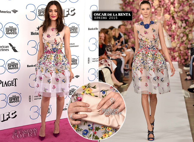 Emmy Rossum in Oscar de la Renta | 2015 Film Independent Spirit Awards
