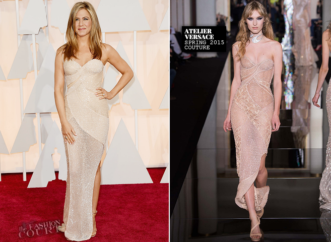 Jennifer Aniston in Atelier Versace | 2015 Oscars