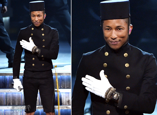 Pharrell Williams in Chanel | 2015 GRAMMYs