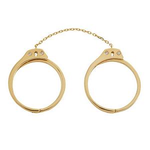 Jack Vartanian Diamond and Gold Handcuff Ring