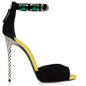 Giuseppe Zanotti Black Suede Sandals with Emerald Stone Ankle Strap