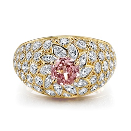 Harry Kotlar Pink Diamond Floral Swirl Ring