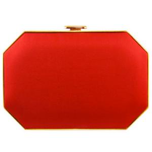 Amanda Pearl 'Sena' Satin Octo Clutch in Red